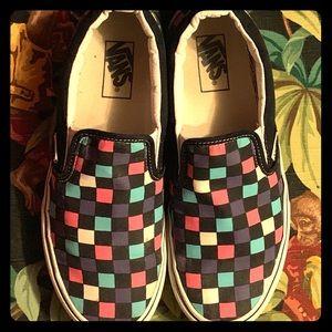 Multicolored Rare checkered slip on Vans